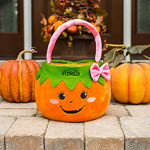 Embroidered Girl Pumpkin Trick or Treat Basket E11887350