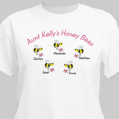 Honey Bees Personalized T-Shirt | Personalized Aunt Gifts