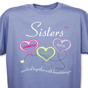 Personalized Sisters Heartstrings Violet T-Shirt