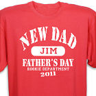 Personalized Rookie Department New Dad T-Shirt