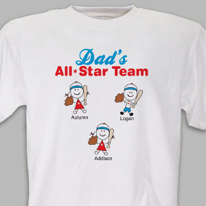 Personalized Dad's All Star Team T-Shirt