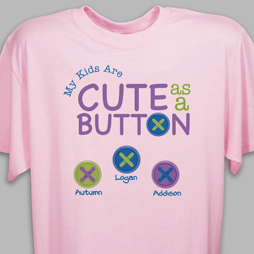 Personalized Cute As A Button T-Shirt | Personalized Grandma T Shirts