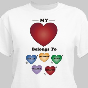 Personalized My Heart Belongs To T-Shirt | Personalized T-shirts