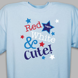 Personalized Red, White and Cute Youth T-Shirt