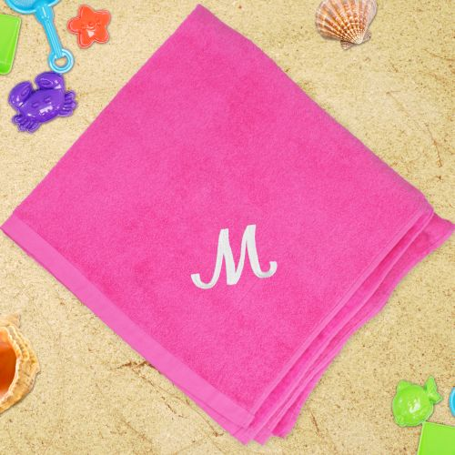 Embroidered Pink Beach Towel