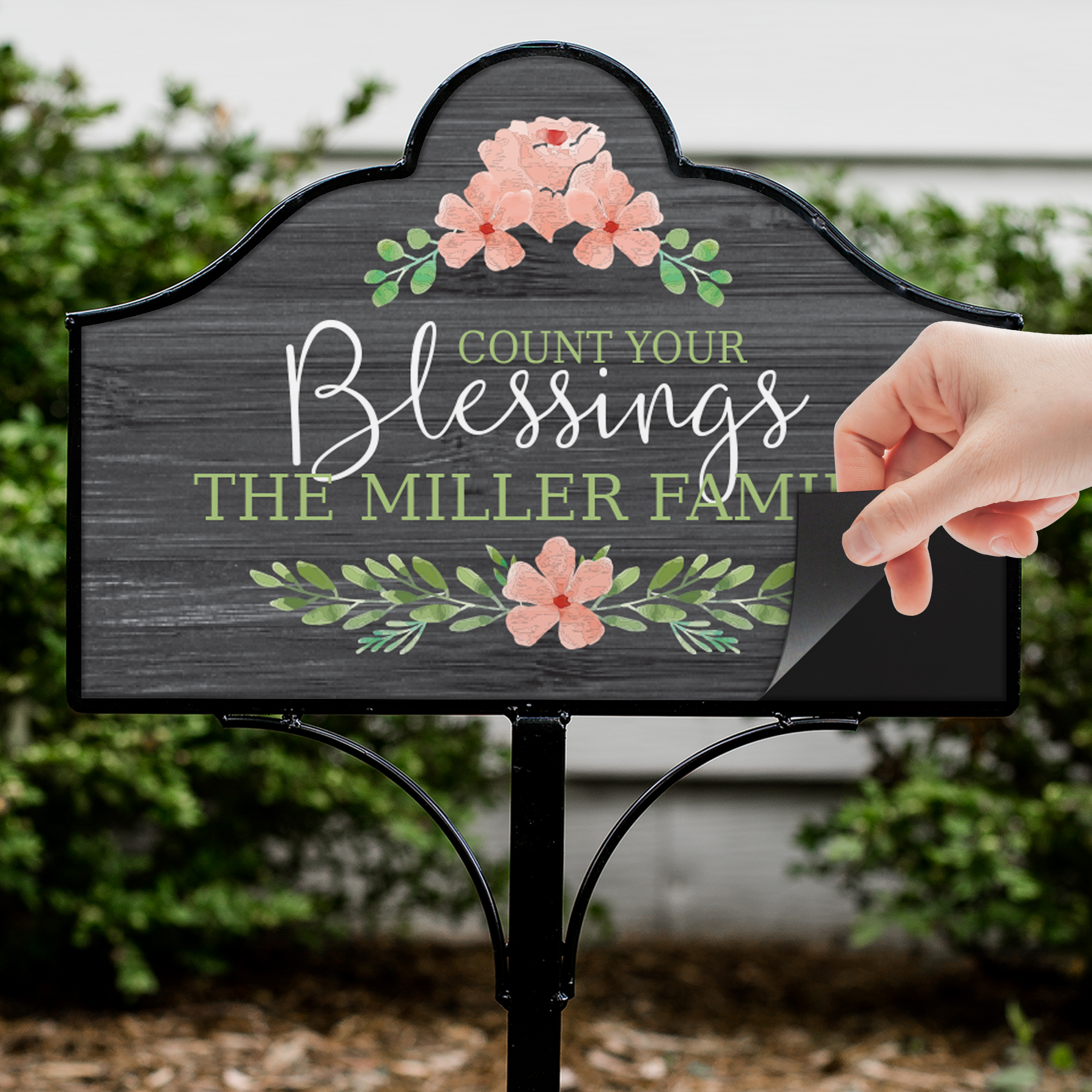 Personalized Count Your Blessings Magnetic Sign Set | Personalized Yard Sign