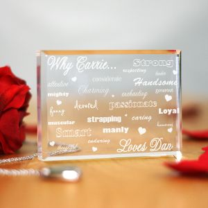 Engraved Why I Love You Keepsake Block