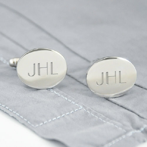 Engraved Silver Oval Cuff Links D1102S