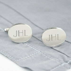 Engraved Silver Oval Cuff Links