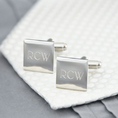 Silver Square Cuff Links | Unique Groomsmen Gifts