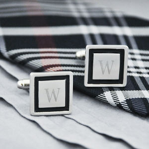 Black Border Designer Cuff Links D1111S