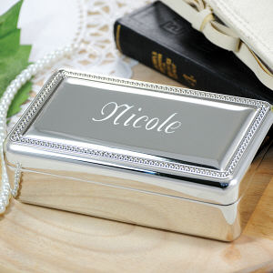 Engraved Beaded Silver Jewelry Box D1519