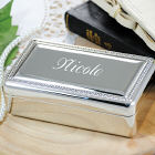Engraved Beaded Silver Jewelry Box