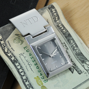 Engraved Graphite Face Watch Money Clip