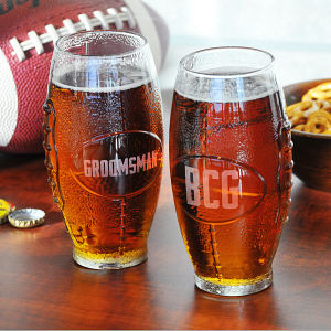 Engraved Glass Football Tumbler