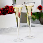 Engraved Trumpet Wedding Toasting Flutes D7293