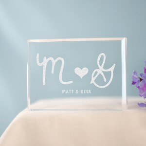Engraved Initials Cake Topper