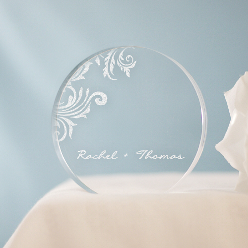 Engraved Floral Cake Topper 77731X