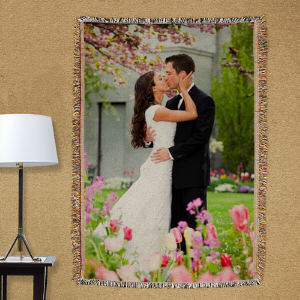 Personalized Wedding Photo Tapestry Throw Blanket
