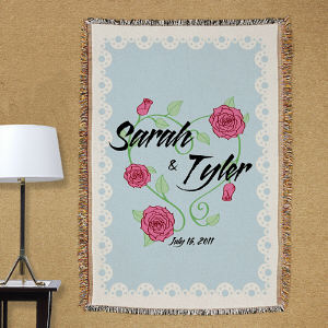 Personalized Couples Tapestry Throw Blanket