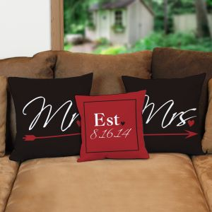 Personalized Newlywed Throw Pillow Set