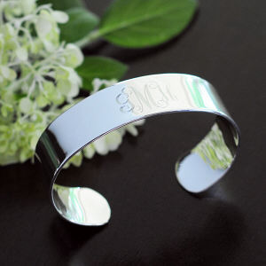Engraved Sterling Silver Wide Cuff Bracelet