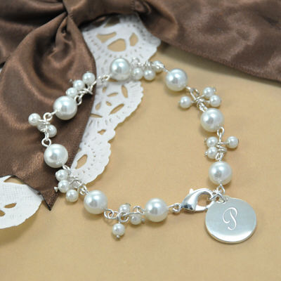 Engraved Romance Ivory Pearl Bracelet DB9270SI