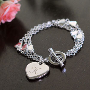Engraved Triple Strand Heart Bracelet