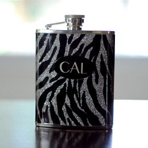 Engraved Zebra Flask