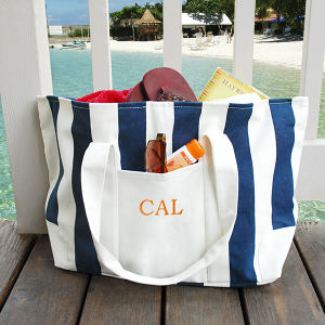 Embroidered Striped Canvas Tote Bag D2176N