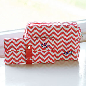 Embroidered Chevron Spa Bag & Makeup Roll Brush Set DS2091x