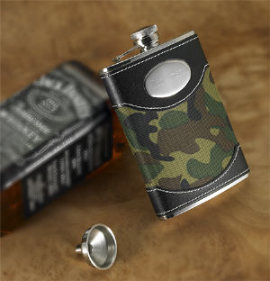 Engraved Green Camouflage Flask