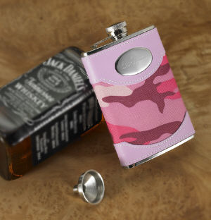 Engraved Pink Camouflage Flask