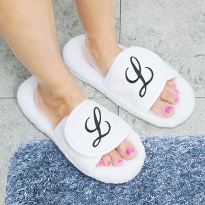 Embroidered Initial White Slippers