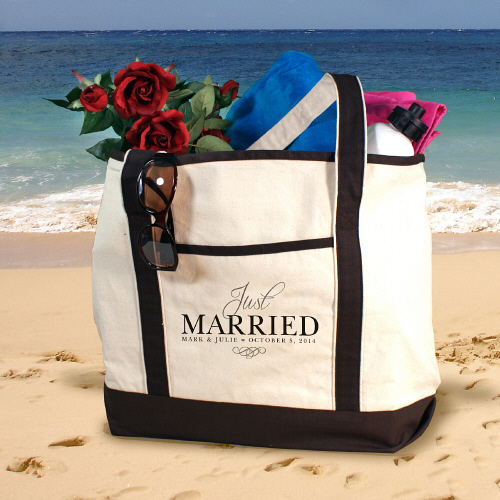 Embroidered Just Married Tote Bag E772339X