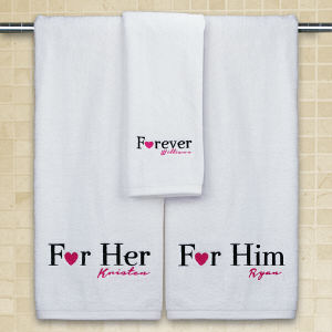 Embroidered His & Hers Towel Set