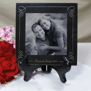 Engraved Wedding Photo Marble Keepsake