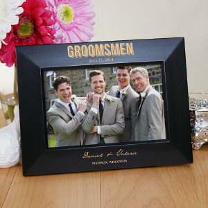 Engraved Bridal Party Black Frame