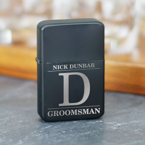 Engraved Groomsmen Black Lighter | Groomsmen Accessories