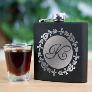Engraved Initial Steel Flask