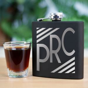 Engraved Initials Steel Flask | Personalized Groomsmen Flasks