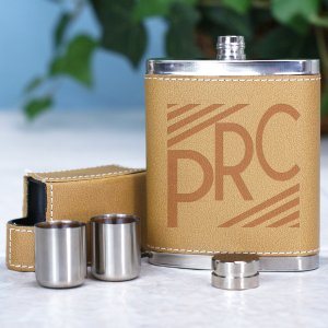 Engraved Initials Leather Flask