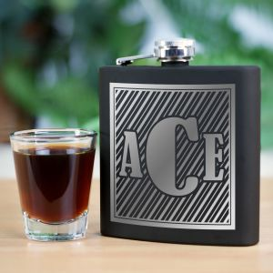 Monogram Steel Flask | Personalized Groomsmen Flasks