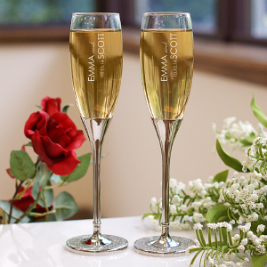 Engraved Wedding Toasting Flutes