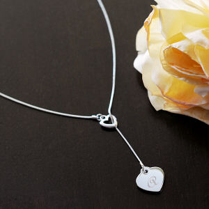 Engraved Double Heart Lariate Necklace DN1027S