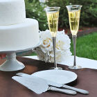 Engraved Rhinestone Champagne Flutes and Cake Server Set DS1527-Set