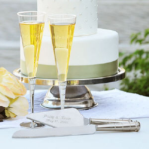 Engraved Royal Champagne Flutes & Cake Server Set
