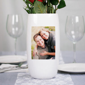 Personalized Ceramic Photo Centerpiece Vase