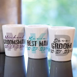 Personalized Wedding Party Initial Shot Glass