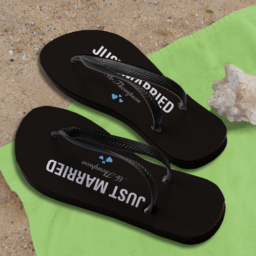 Personalized Just Married Flip Flops U772459X